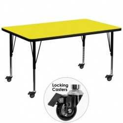 MFO Mobile 36''W x 72''L Rectangular Activity Table with 1.25'' Thick H.P. Yellow Laminate Top and Height Adj. Pre-School Legs