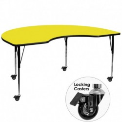MFO Mobile 48''W x 72''L Kidney Shaped Activity Table with 1.25'' Thick H.P. Yellow Laminate Top and Standard Height Adj. Legs