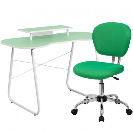 MFO Green Computer Desk with Monitor Platform and Mesh Chair