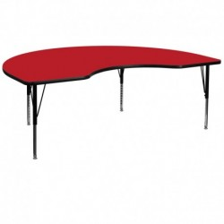 MFO 48''W x 72''L Kidney Shaped Activity Table with 1.25'' Thick H.P. Red Laminate Top and Height Adj. Pre-School Legs