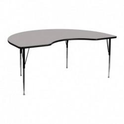 MFO 48''W x 72''L Kidney Shaped Activity Table with 1.25'' Thick H.P. Grey Laminate Top and Standard Height Adj. Legs
