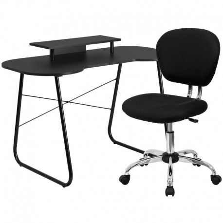 MFO Black Computer Desk with Monitor Platform and Mesh Chair