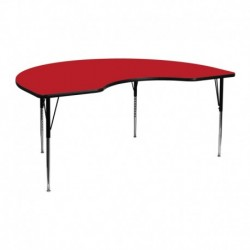 MFO 48''W x 72''L Kidney Shaped Activity Table with 1.25'' Thick H.P. Red Laminate Top and Standard Height Adj. Legs
