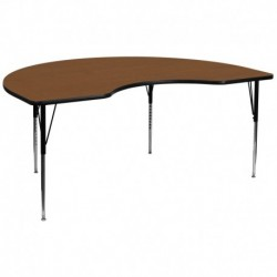 MFO 48''W x 96''L Kidney Shaped Activity Table with 1.25'' Thick H.P. Oak Laminate Top and Standard Height Adj. Legs