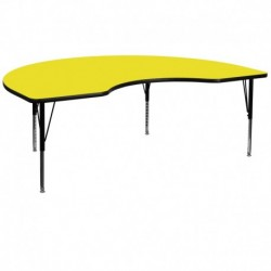 MFO 48''W x 96''L Kidney Shaped Activity Table with 1.25'' Thick H.P. Yellow Laminate Top and Height Adj. Pre-School Legs