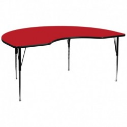 MFO 48''W x 96''L Kidney Shaped Activity Table with 1.25'' Thick H.P. Red Laminate Top and Standard Height Adj. Legs