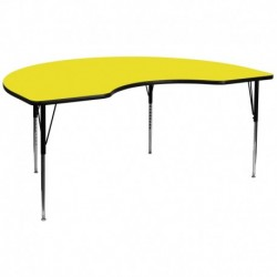 MFO 48''W x 96''L Kidney Shaped Activity Table with 1.25'' Thick H.P. Yellow Laminate Top and Standard Height Adj. Legs