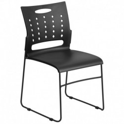 MFO Princeton Collection 881 lb. Capacity Black Sled Base Stack Chair with Air-Vent Back