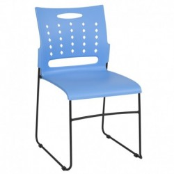 MFO Princeton Collection 881 lb. Capacity Blue Sled Base Stack Chair with Air-Vent Back