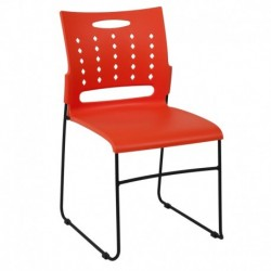 MFO Princeton Collection 881 lb. Capacity Orange Sled Base Stack Chair with Air-Vent Back