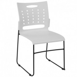 MFO Princeton Collection 881 lb. Capacity White Sled Base Stack Chair with Air-Vent Back