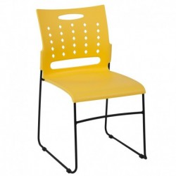 MFO Princeton Collection 881 lb. Capacity Yellow Sled Base Stack Chair with Air-Vent Back