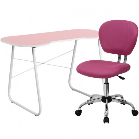 MFO Pink Computer Desk and Mesh Chair