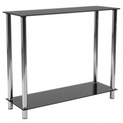 MFO Oxford Collection Black Glass Console Table with Shelves and Stainless Steel Frame