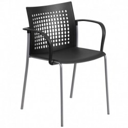 MFO Princeton Collection 551 lb. Capacity Black Stack Chair with Air-Vent Back and Arms