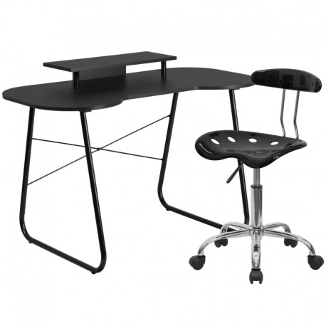MFO Black Computer Desk with Monitor Platform and Tractor Chair