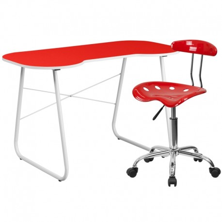MFO Red Computer Desk and Tractor Chair