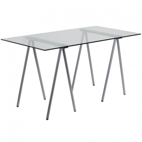 MFO Glass Computer Desk with Silver Frame