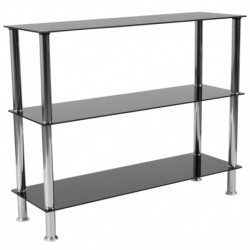 "MFO Oxford 3 Shelf 31.5""H Glass Storage Display Unit Bookcase with Stainless Steel Frame in Black"
