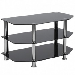 MFO Stanford Collection Black Glass TV Stand with Stainless Steel Metal Frame