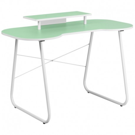 MFO Green Computer Desk with Monitor Platform and White Frame