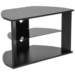 MFO Stanford Collection Black Finish TV Stand with Glass Shelves