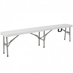 "MFO 11''W x 72""L Bi-Fold Granite White Folding Bench with Carrying Handle"