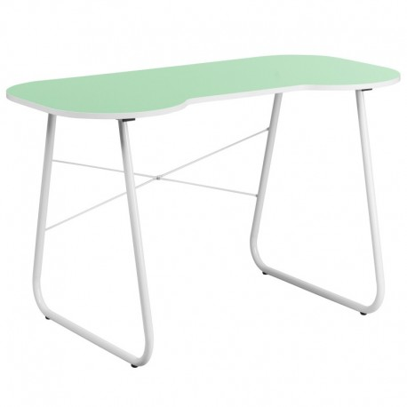MFO Green Computer Desk with White Frame