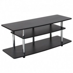 MFO Stanford Collection Black TV Stand with Shelves and Stainless Steel Legs