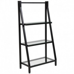 "MFO Stanford Collection 3 Shelf 45.5""H Glass Bookcase with Black Metal Frame"