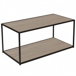MFO Stanford Collection Oak Wood Grain Finish Coffee Table with Black Metal Frame