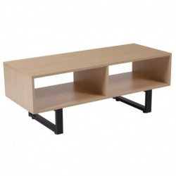 MFO Diana Collection Beech Wood Grain Finish TV Stand and Media Console with Black Metal Legs