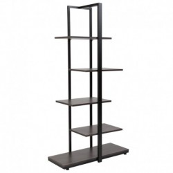 MFO 5 Tier Decorative Etagere Storage Display Unit Bookcase, Black Metal Frame in Driftwood Finish