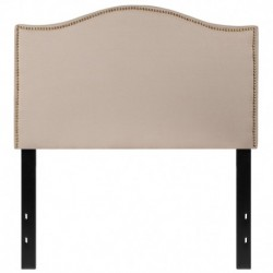 MFO Penelope Collection Twin Size Headboard with Accent Nail Trim in Beige Fabric