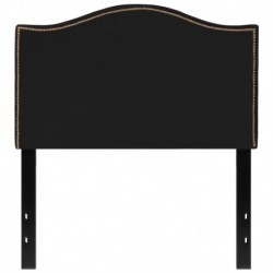 MFO Penelope Collection Twin Size Headboard with Accent Nail Trim in Black Fabric