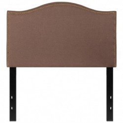 MFO Penelope Collection Twin Size Headboard with Accent Nail Trim in Camel Fabric