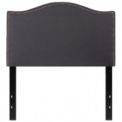 MFO Penelope Collection Twin Size Headboard with Accent Nail Trim in Dark Gray Fabric