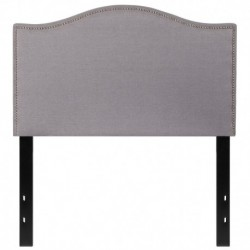 MFO Penelope Collection Twin Size Headboard with Accent Nail Trim in Light Gray Fabric
