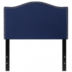 MFO Penelope Collection Twin Size Headboard with Accent Nail Trim in Navy Fabric