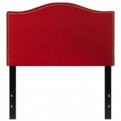 MFO Penelope Collection Twin Size Headboard with Accent Nail Trim in Red Fabric