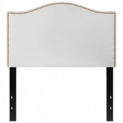 MFO Penelope Collection Twin Size Headboard with Accent Nail Trim in White Fabric