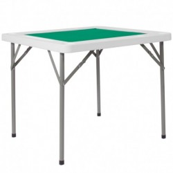 MFO 34.5'' Square Granite White Folding Game Table with Green Playing Surface