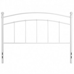 MFO Stanford Collection Decorative White Metal Queen Size Headboard