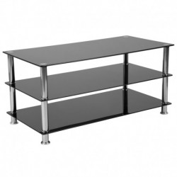 MFO Oxford Collection Black Glass TV Stand with Stainless Steel Frame