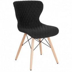 MFO Oxford Collection Contemporary Upholstered Chair with Wooden Legs in Black Fabric