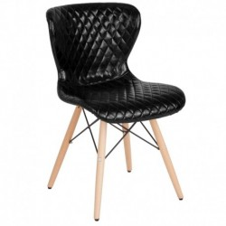 MFO Oxford Collection Contemporary Upholstered Chair with Wooden Legs in Black Vinyl