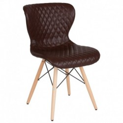 MFO Oxford Collection Contemporary Upholstered Chair with Wooden Legs in Brown Vinyl