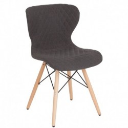 MFO Oxford Collection Contemporary Upholstered Chair with Wooden Legs in Dark Gray Fabric