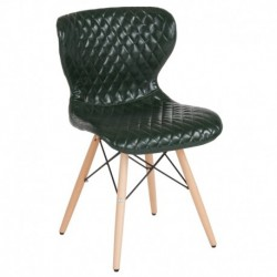 MFO Oxford Collection Contemporary Upholstered Chair with Wooden Legs in Green Vinyl