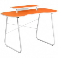 MFO Orange Computer Desk with Monitor Platform and White Frame